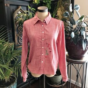 Sundance gingham floral Embroidered button down